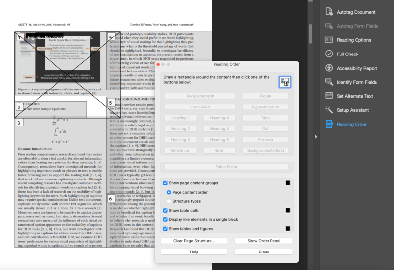 Screenshot shows Reading Order dialog with page markup behind. Page markup shows a figure and two columns of text broken into 6 elements numbered 1-6.