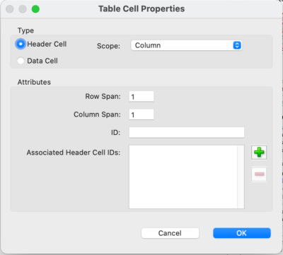 'Table Cell Properties' dialog includes the ability to mark a cell as type Header Cell or Data Cell, and to indicate the scope in a drop-down control.