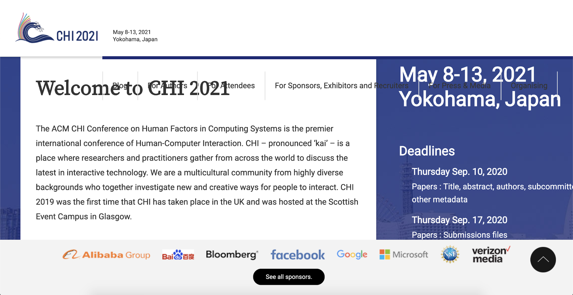 "On the landing page of CHI 2021, a header with a message ""Welcome to CHI 2021"" overlaid with navigation elements at the top of the page."