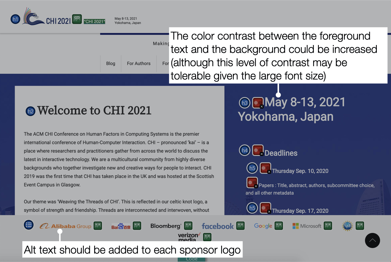 "There are two comments on accessibility; one on the text color contrast and one on the alt text. The first comment says, ""the color contrast between the foreground text and the background could be increased (although this level of contrast may be tolerable given the large font size)."" The second comment says, ""alt text should be added to each sponsor logo."""